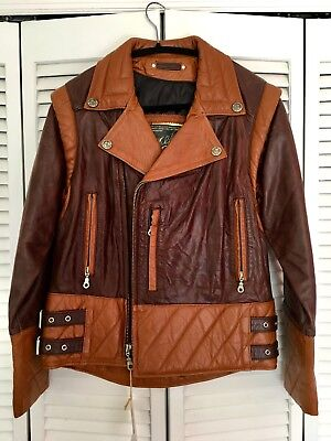 Collectible Evel Knievel Two Tone Brown Leather Jacket and Vest New with Tags