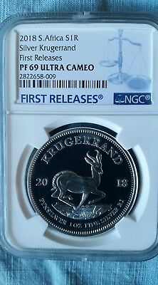 2018 1oz Silver PROOF Krugerrand PF69 FIRST RELEASES COA# 00702 In Hand USA!