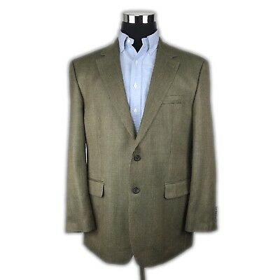Lauren Ralph Lauren Silk Wool 2 Button Green Sport Coat Mens 44R