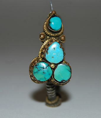 RARE Antique Late 18c Early 19c Tibet Men's Earring Turquoise Silver & Gold Gilt
