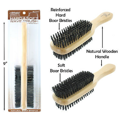 Double Hard & Soft Boar Bristle Wave Hair Brush Natural Wooden Handle # 7713 NEW