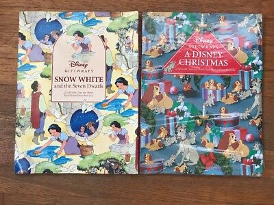 Lot of 2 Vintage Disney Wrapping Paper Sheet Books Snow White, Christmas Gifts