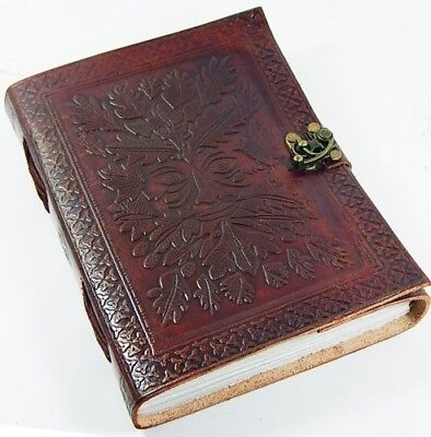Handmade Leather bound Green Man Journal with brass clasp