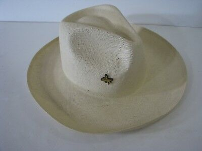 WRANGLER 5star VTG  WESTERN STRAW COWBOY HAT Leather Rim PINCHED GUS CROWN  6-7 929ce8d40a7