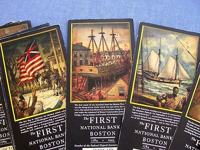 34 Vintage First National Bank Of Boston Calendar/blotters 1934 -1952 As Found