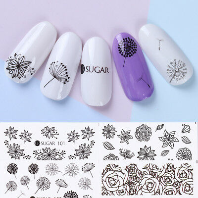 4 Sheets Nail Art Water Decals Dandelion Rose Design Transfer Stickers UR SUGAR