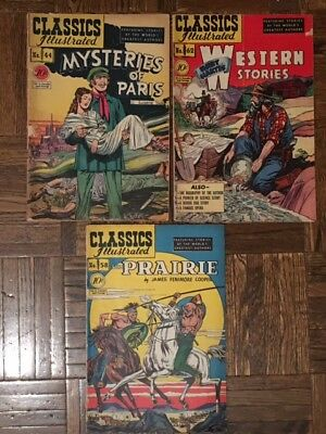 Classics Illustrated 44 58 62 First Print Comics Vintage Golden Age Comic Lot