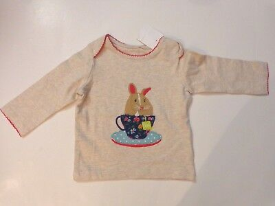 NWT $28 Mini Boden girl's size 6-12 months Oatmeal/Marl Bunny long sleeved top