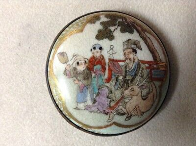 Satsuma Hand Painted Scene In Belt Buckle Mount