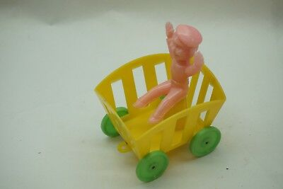 VINTAGE ROSBRO EASTER CART WAGON WITH BOY RIDER HARD PLASTIC 4in TALL YELLOW