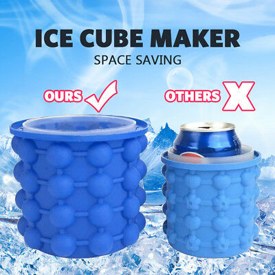 AU Genie Space Saving Ice Cube Maker Bucket Revolutionary Drink Holder Silicone