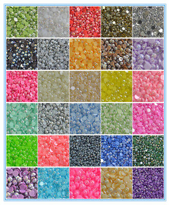DIY 2/3/4/5/6/8mm AB Half Round Pearl Bead Flat Back Scrapbook Craft #2