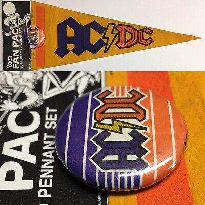 Vintage 80s AC/DC Angus Young ACDC Music MINI Pennant Pin Pinback