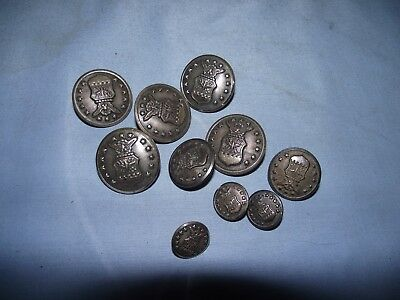10 Vintage Waterbury Military Buttons WWII Air Force Eagle 13 Stars Shield
