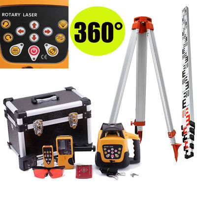 Red Beam 500M Range Auto Self Leveling Rotary Rotating Laser Level +Tripod Staff