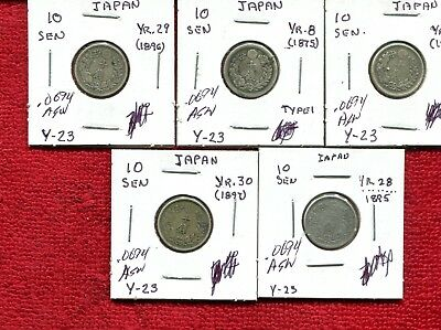 JAPAN LOT OF 5 OLD SILVER COINS 1800s VG OR BETTER 9.95