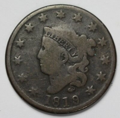 1819 Liberty Matron Coronet Head Large Cent Lg Date Penny Old US Coin P3R C70