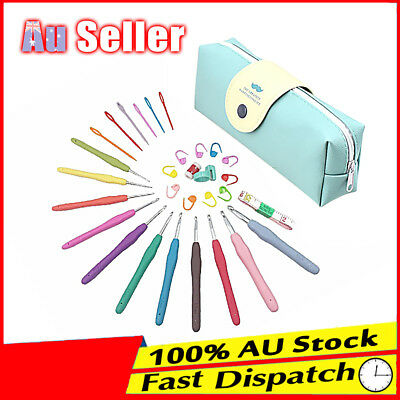 31Pcs Sewing Tools Grip With Bag Hooks Knitting Needles Sets Soft handle Crochet