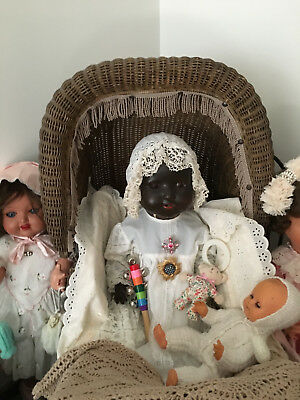 ANTIQUE AMERICAN WICKER BABy CARIAGE, 19TH CENT BLACK ARMAND MARSEILLE BABY