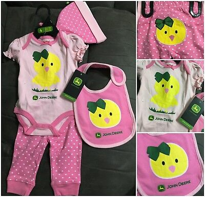New John Deere pink 'farm chick' 4 piece set, sz 3/6 months