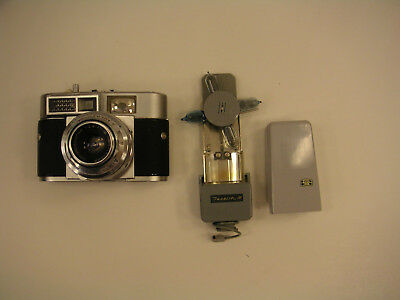 1961 Vintage Voigtlander Vitomatic Ii Camera And Case And Zeiss Ikoblitz M Flash