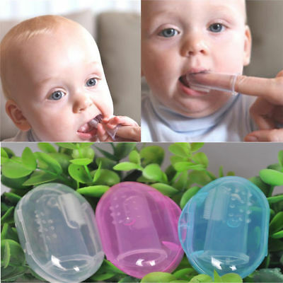 Easy to Use - Baby Infant Soft Silicone Finger Toothbrush Teeth Massager Brush