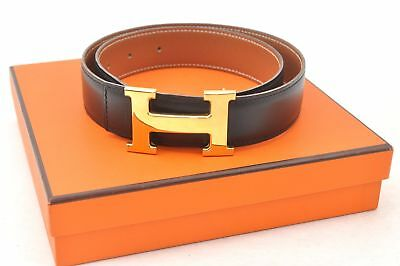 Authentic HERMES Ladies Leather Black Belt Size 70 Box 57556