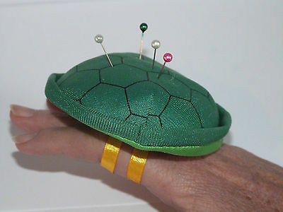 100 Pin Needle Cushions plush tortoise shell turtle Green, wearable craft needle