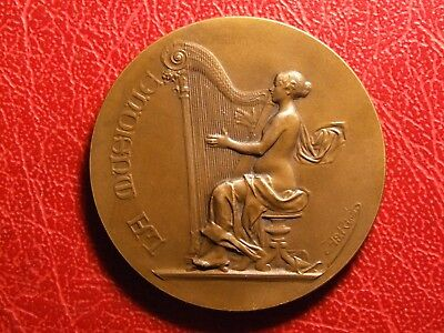 Art Nouveau naked woman playing on Harp music medal A Rivet