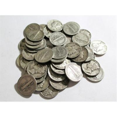 (50) Mercury Dimes -90% Silver Random Dates Lot 119Q