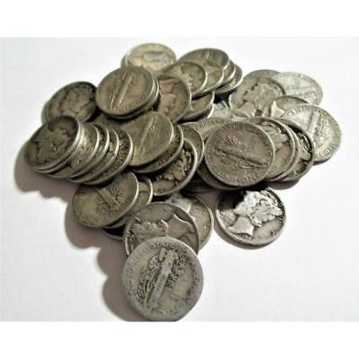 (50) Mercury Dimes -90% Silver Lot 166