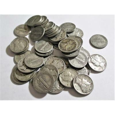 Lot of (50) Mercury Dimes -90% Silver Lot 29A