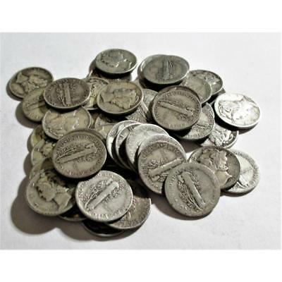 (50) mercury Dimes -90% Silver Lot Lot 4T