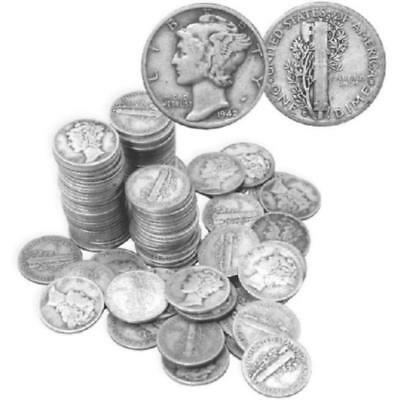 (100) Mercury Dimes- 90% Silver Lot 507