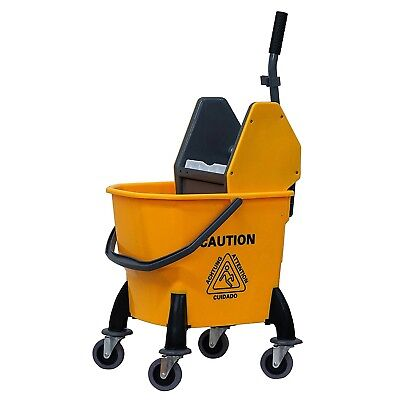 Rolling Mini Side Press Mop Bucket w/ Wringer 26qrt Yellow Pendable Metal Handle