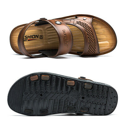 Leather Beach Shoes Casual Mens Sandals Slippers Summer Outdoor Flip Flops Flats