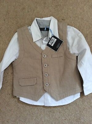 BNWT M&S Autograph Baby Boys Shirt And Waistcoat Age 12-18 Months