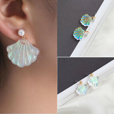 Elegant Women Girls Mermaid Pearl Shell Ear Studs Earrings Weeding Jewelry