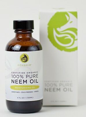 100% Pure Certified Organic Neem Oil - For Hair, Skin Nails - Foxbrim 120ML