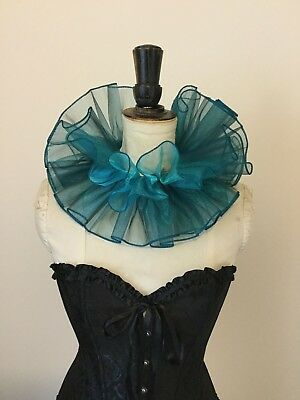 Teal organza circus neck ruff, pierette clown costume.