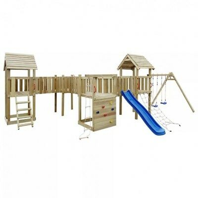 WOODEN PLAYGROUND SWINGS Set Outdoor Kids House Slide Climbing Frame ...