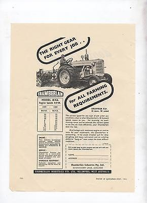 Chamberlain 40 KA Tractor Advertisement removed from 1952 Australian Journal