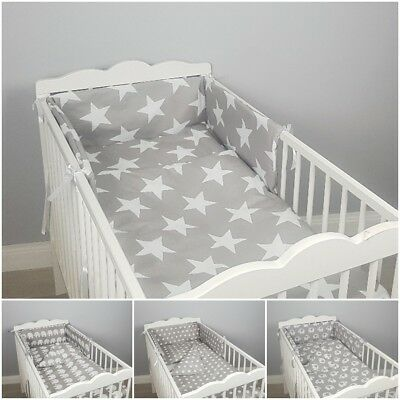 3 pc GREY COT/COT BED BABY BEDDING SET bumper quilt pillowcase STARS ELEPHANTS