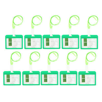 10x Acrylic Badge Holders Open Double Sided Pick Card ID Card Pouches -Green