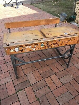 Vintage wooden double school desk with metal frame USED **PICK-UP ONLY**