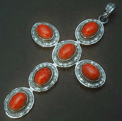 3.30ct ROSE CUT DIAMOND RED CORAL ANTIQUE VICTORIAN LOOK SILVER CROSS PENDANT