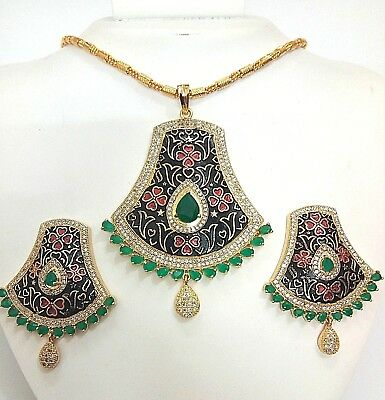 Indian Ddesigner Fashion Jewelry Green CZ Pendant Set Antique Gold Black Plated