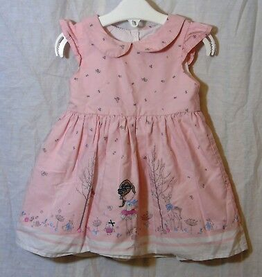 Baby Girls Primark Pink Forest Cute Animals Scene Lined Dress Age 6-9 Months