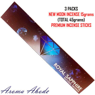 3 x Royal Sapphire Natural Incense 15gms by NEW MOON Total (45gms)