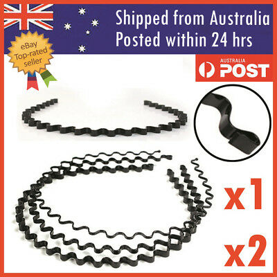 Wave Hair Band Sports Metal Wave Hoop Headband Hairband Unisex Black
